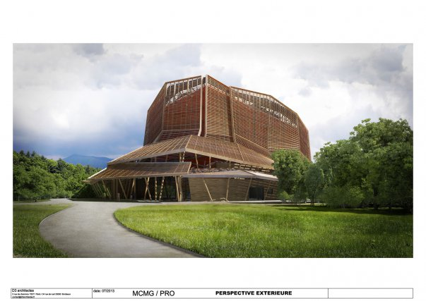 Perspective extérieure du Centre de conservation des archives et des collections, dessinée par l'agence D3 architectes.
