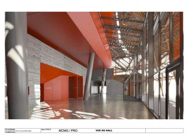 Le vaste hall donnera accès à l'auditorium, à la salle de lecture et à la salle d'animation.