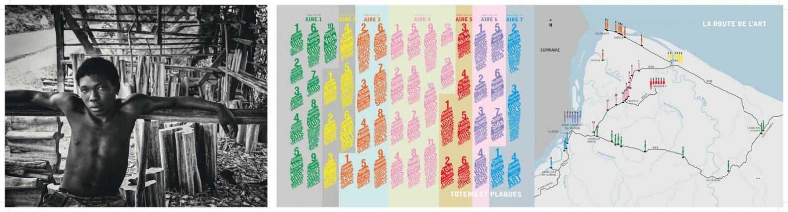 La carte des sites artistiques. La Route de l'art organise sur les trois communes de l'Ouest un circuit qui permet la rencontre avec près de cent cinquante artistes et artisans sur 55 sites, répartis sur 7 aires, ici signalées par couleur.