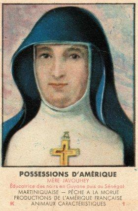 Chromolithographie publicitaire représentant le portrait d'Anne-Marie Javouhey. Fin XIXe - début XXe siècle.
