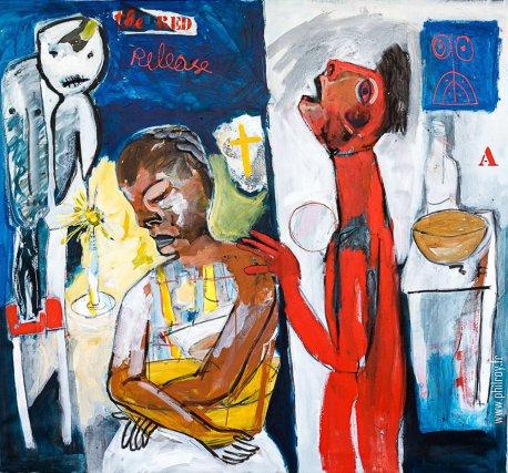 The red release, acrylique et technique mixte sur toile, 150 x 120cm, 2014.
