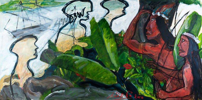 4°N 53°W - Cepelu, détail, acrylique sur contreplaqué, 13m sur 1,40m,  œuvre lauréate du 1% artistique de l'université de Guyane, 2016