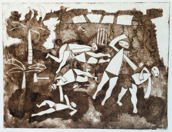 La nuit des morts à Fort Zeelandia, gravure, 67x52 cm, 1983, Collection particulière.