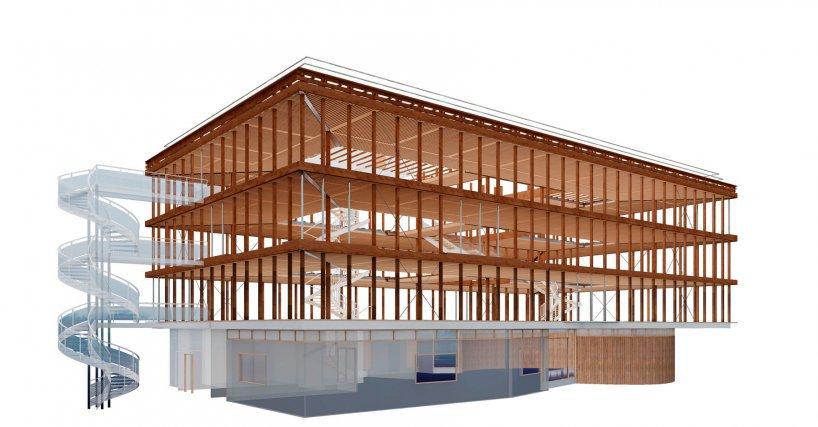 Le bâtiment «TITAN» du centre technique du CNES / CSG (début du chantier en juillet 2017) possède les premiers planchers structurants nervurés en bois local. Le procédé sera à terme décliné pour le logement social, pourra être mixé avec la brique de Guyane, et permettra de monter à 7 niveaux de planchers. Le bâtiment sera équipé de récupération d'eau de pluies et d'une centrale photovoltaïque.