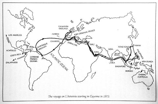 Le voyage de l'Artemis depuis Cayenne en 1973