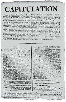 Acte de capitulation, signé à Bourda le 12 janvier 1809