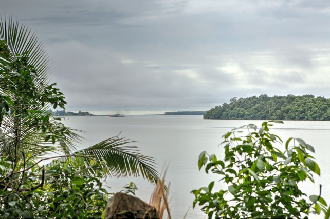 Vue sur l'estuaire du Mahury, depuis Fort Trio.  Juillet 2017.