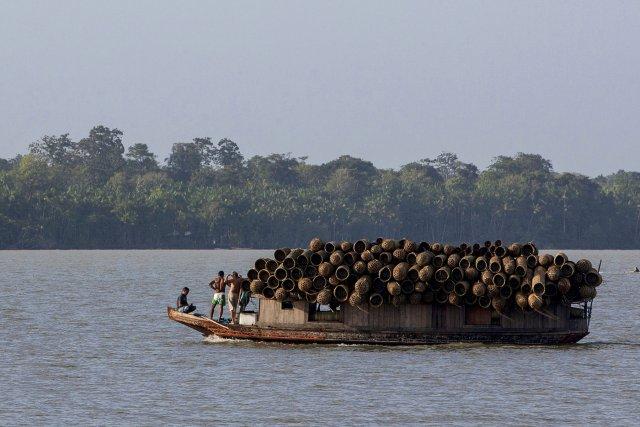 Petite embarcation transportant des paniers fabriqués à partir de palmiers d'açaí, après la vente des fruits à la Foire d'açaí. Rio Guamá, Belém, Pará. Décembre 2012.