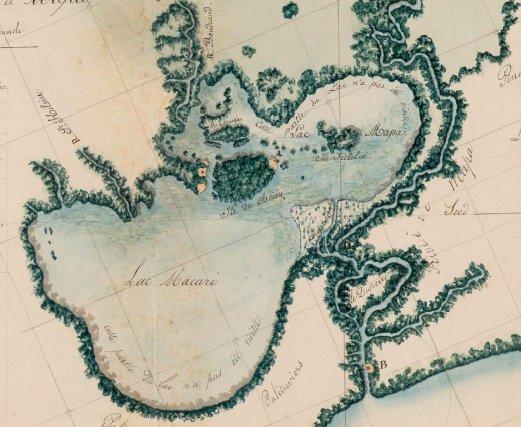 Carte du lac de Mapá avec sur l'île centrale le poste français. Carte du capitaine Ronmy, juillet 1836.
