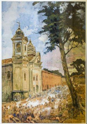 Assaut des cabanos devant l'église Nossa Senhora das Mercês en 1835.