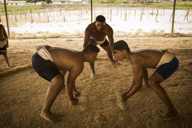 Marcio Trendar, entraineur, ouvre le combat de deux élèves dans le dojo du club de Sumo de Tomé Açu,