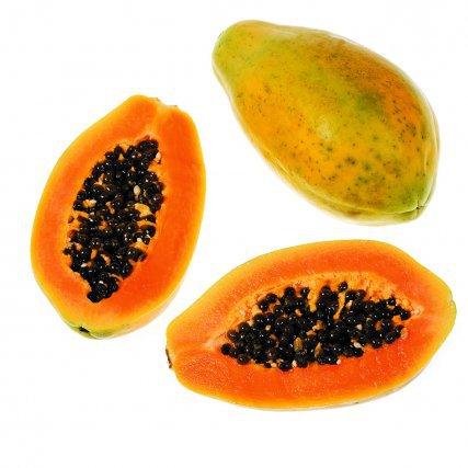 Papaye Carica papapa, originaire d'Amérique tropicale. Verte, la papaye se consomme crue (en salade) ou cuite (gratins ou confiture). À maturité, elle se consomme confite, en confiture, en jus ou glace.