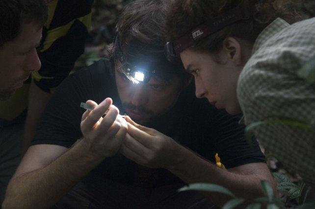 à droite, Andrius Pašukonis expliquant à Susanne Stückler et Maxime Garcia comment manipuler une grenouille.