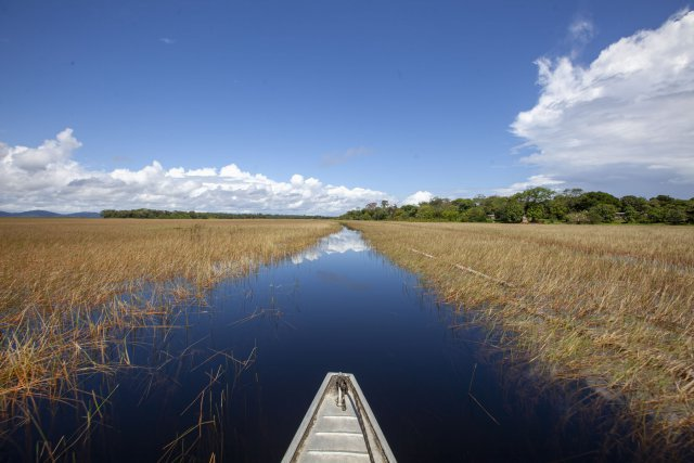 La rivière Curipi, affluent de l'Uaçá, traverse une vaste zone de savanes inondables parsemées de petites buttes sur lesquelles sont construits les villages. Le déplacement en pirogue est la seule manière d'accéder aux abattis, à la forêt, ou aux différents lieux d'habitation.
