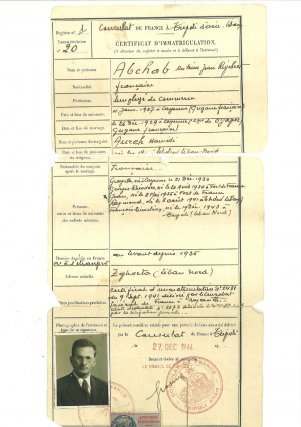 Certificat d'immatriculation de Antoine Abchee au Liban en 1946
