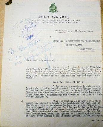 Lettre de Jean Sarkis au gouverneur de Guadeloupe,17 janvier 1938