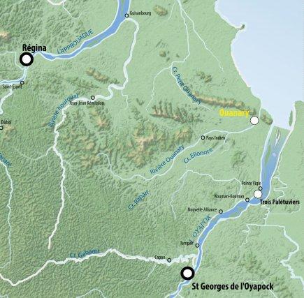 Carte de l'Est guyanais.