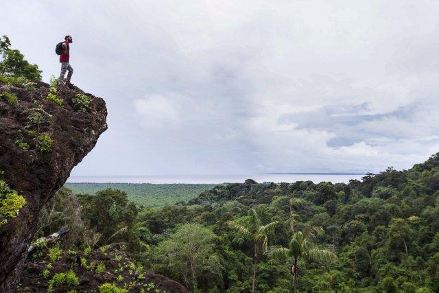 Vue sur l'estuaire de l'Oyapock depuis les monts de l'Observatoire.