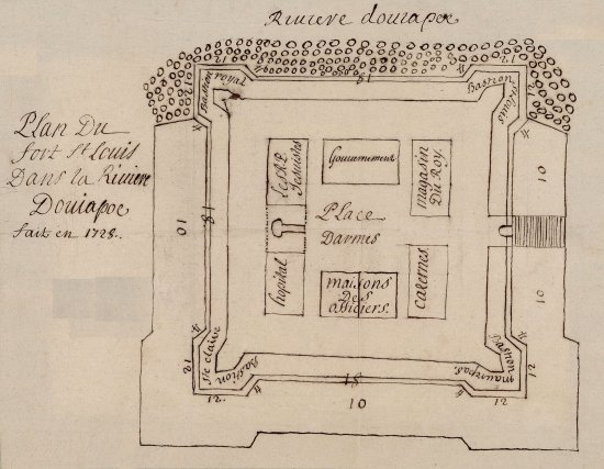 Plan du fort Saint-Louis, 1728. Construit en 1725 pour contrer les prétentions des Portugais dans la région, le fort comptait 4bastions et faisait 68m de côté.