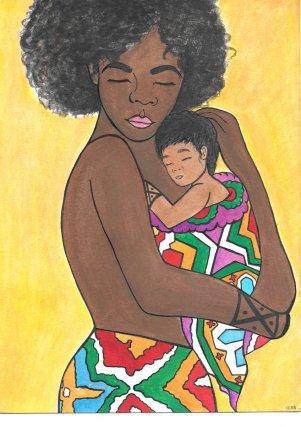 Métisse, 2018. Cette illustration représente une mère Aluku et son enfant métisse amérindien.