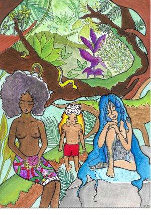 Légendes, 2017.Ceci est la représentation des différentes légendes connues en Guyane : La sorcière au pangui, le Maskilili et Manman Dilo