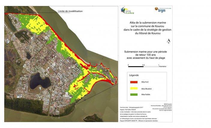 Simulation des risques de submersion marine sur la commune de Kourou, tenant compte de l'élévation du niveau de la mer sous l'effet du réchauffement climatique.