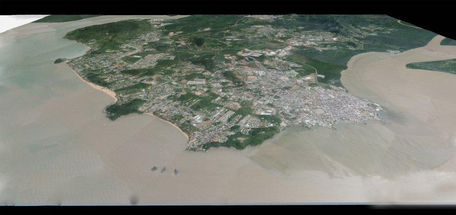 Rendu 3D cartographique de l'île de Cayenne avec le niveau de la mer actuelle.