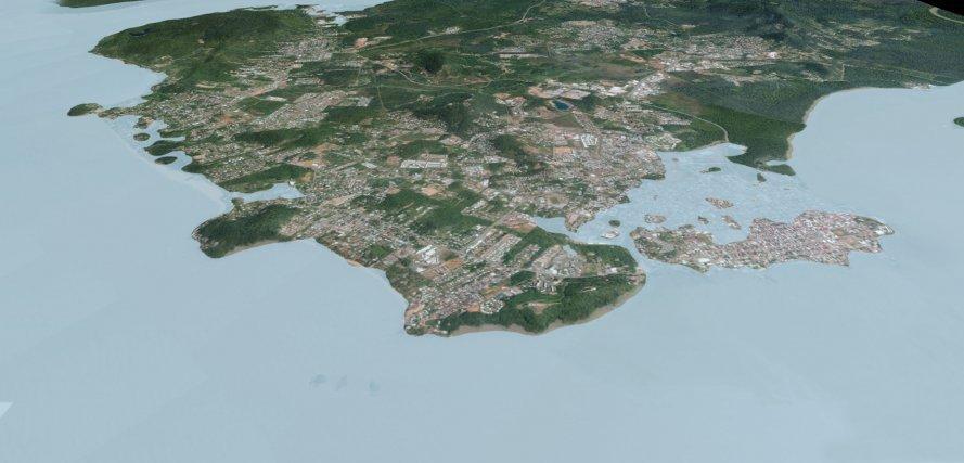 Simulation d'une augmentation du niveau de la mer jusqu'à inondation de l'île de Cayenne
