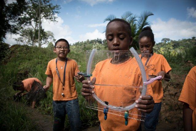 Les enfants de l'école de Saül ont découvert les invertébrés aquatiques de la crique Grand Fossé.