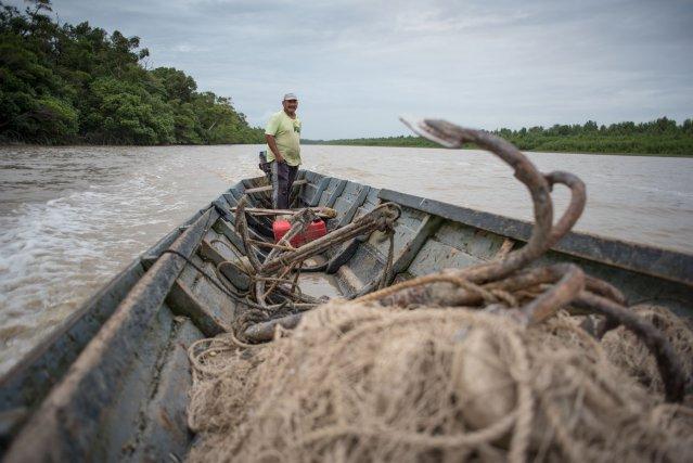 En route pour l'estuaire de la Mana, ce pêcheur croise régulièrement des bateaux illégaux en provenance du Suriname.