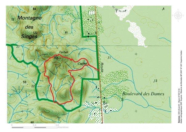 source IGN de la série Outre-Mer ©IGN - Paris 2012 - Autorisation n°GC12-5..   Le site est propriété du CNES.  L'ONF intervient sur la Montagne des Singes au titre de la convention de gestion signée en 2011 entre le CNES et l'ONF.