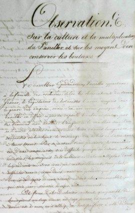 Mémoire de S. Perrotet sur la culture et la multiplication du vanillier, vers 1821.