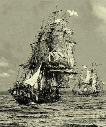 Les 2 voiliers à l'approche de la Guyane. La flûte le Rhône mesurait 43 m de long pour 800 tonneaux, la Durance était une gabare de 467 tonneaux