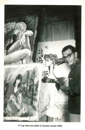 F. Lagrange dans son atelier, vers 1950.