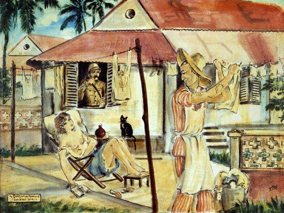 Francis Lagrange, vers 1960. Coll. privée. Le Garçon de famille de F. Lagrange, vers 1952. Coll. Musée départemental. « Je voulais peindre le bagne, l'enregistrer et l'interpréter, pour moi-même aussi bien que pour les autres, la vie de la colonie pénale telle que je l'avais vue et connue ». F. Lagrange, Flag on Devil's island, 1961.