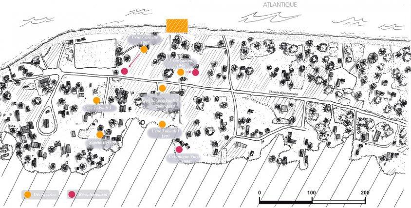 Localisation des sépultures découvertes à Yalimapo.