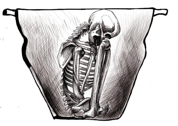 Reconstitution imaginaire et improbable en cas d'incinération d'une sépulture kali'na dans un samaku au XVIIe siècle.