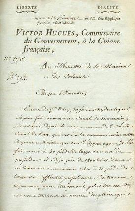 Lettre de Victor Hugues au ministre des colonies annonçant le début des travaux du canal (8 décembre 1803)