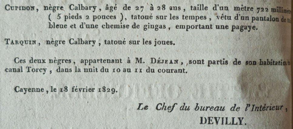 Déclaration de marronnage concernant deux esclaves appartenant à François Déjean.