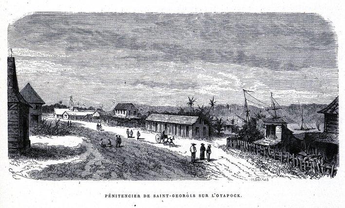 En arrière plan, la première distillerie du bagne à St-Georges de l'Oyapock vers 1863.