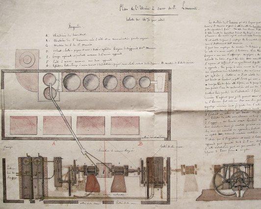 Dessin de Eck expliquant son projet d'installation d'un moulin à cannes à l'usine St-Maurice, 1870.