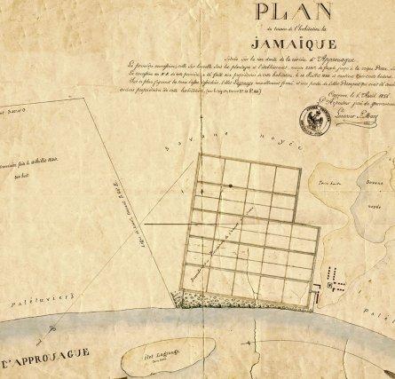 Plan de l'habitation La Jamaïque en 1855. La Jamaïque est l'une des dernières habitations de Guyane installée comme sucrerie en 1830. Deux machines à vapeur y fonctionnent en 1844. La propriété est rachetée en 1859 par la Compagnie aurifère et agricole de l'Approuague. Cette société prévoit d'investir en parallèle sur le métal précieux et sur la canne à sucre. Nombre de ces actionnaires ne sont autres que des anciens esclavagistes qui ne cherche qu'à reproduire le système en remplaçant la population servile par des engagés étrangers. La Compagnie fait faillite en 1867.