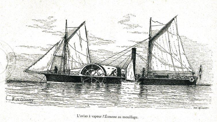 L'économe est un aviso à vapeur de 25 chevaux conçu spécialement, par l'ingénieur Sabattier en 1855, pour la navigation des rivières de Guyane. Son capitaine Crisenoy le qualifie d'aviso microscopique (1 m de tirant d'eau, 25 m de long sur 4 de large).