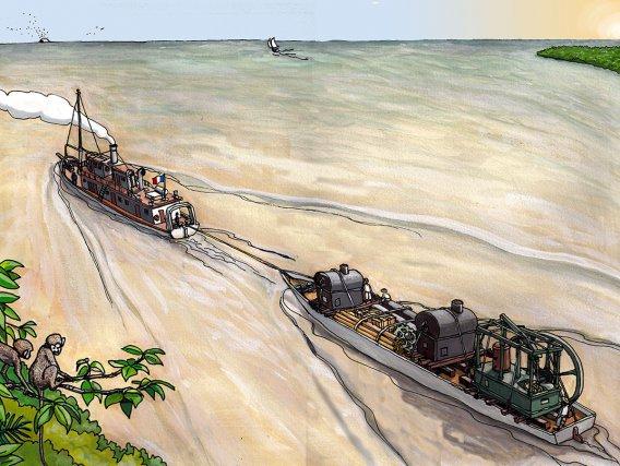 Restitution de la canonnière Sainte-Marie remorquant l'aviso l'Econome dans l'embouchure de l'Approuague, en juillet 1870.