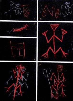 Diverses scènes du site de la Carapa: anthropomorphes à tête triangulaire, qui pourrait reprensenter une tête carrée, un poissonou un serpent.