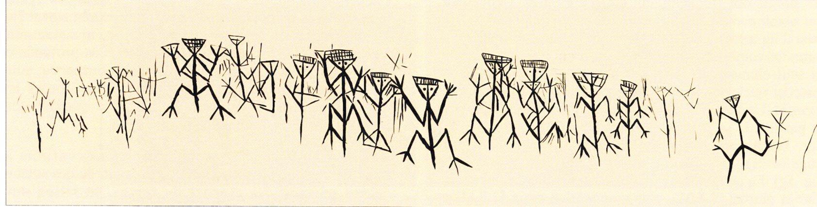 Frise d'anthropomorphes. Relevé Norbert Aujoulat (CNP, SATTAS)