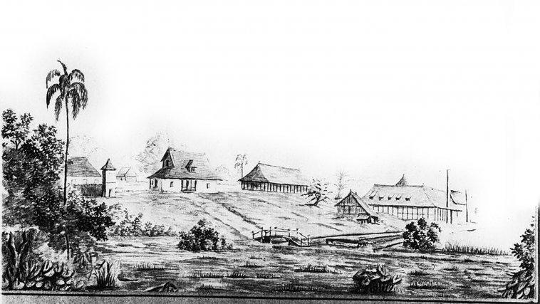 Habitation Mondélice. La première machine à vapeur de Guyane y est installée en 1822.