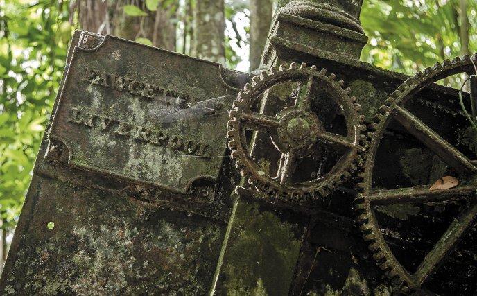 Machines et marmites de l'habitation Besse, sur la rivière Courouaï. La société fondée par William Fawcett à Liverpool en 1794 a produit 254 machines à vapeur entre 1803 et 1845. Huit de ces machines ont été redécouvertes sur l'Approuague et la Courouaï, deux sur les habitations longeant le canal Torcy.