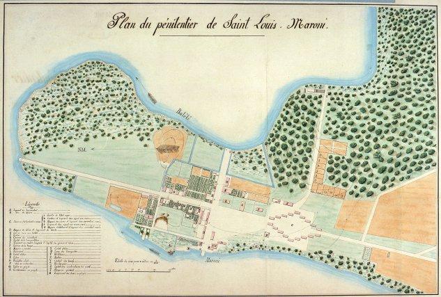 Plan de Saint-Louis, vers 1864. Arch. dép. de Guyane.