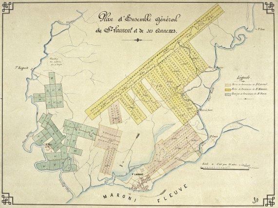 Les pénitenciers du Maroni. St-Louis apparaît en bas à droite, entre St-Laurent et St-Maurice. Fin XIXe siècle.